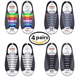 Talent Fashion 4 Packs Of Kids/adults Tieless Elastic Silicone No Tie Shoelaces Waterproof Rubber Flat Running Shoe Laces For Sneakers Board Shoes Casual Shoes And Boots (adults) | amazon.com