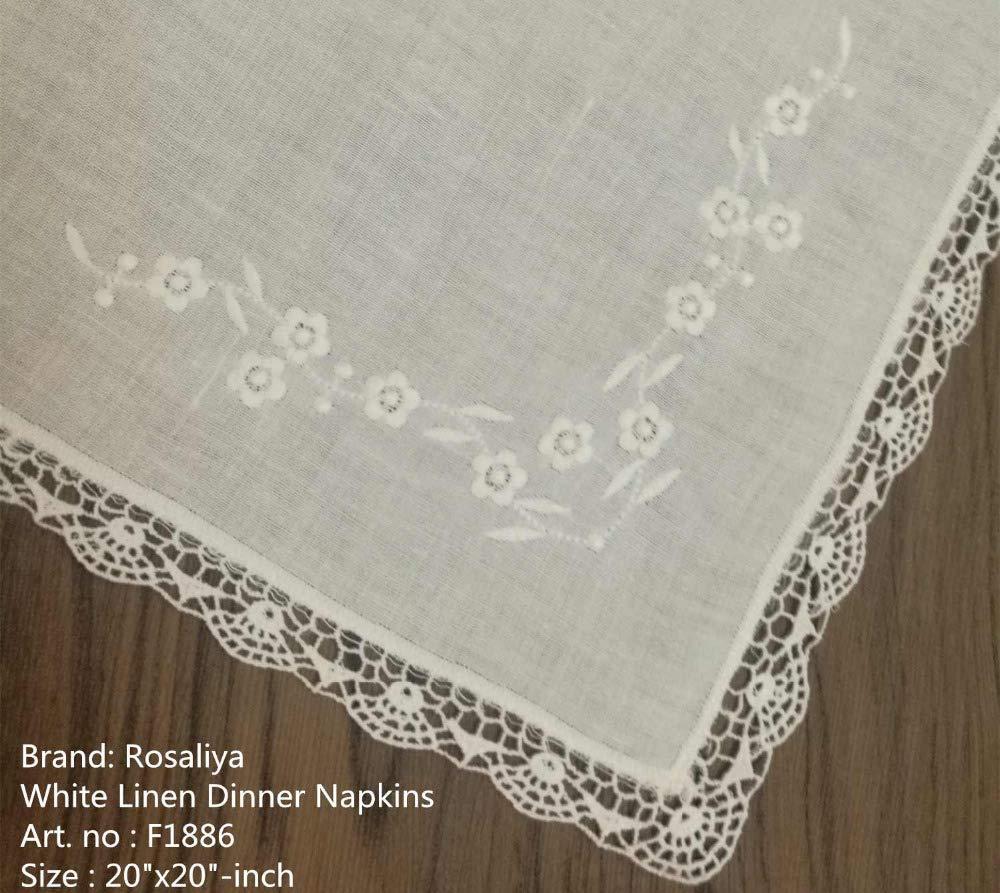 Set di 50 fazzoletti Hankie 50 cm tovaglioli da tavola in lino fazzoletti in pizzo ricamati da uomo cravatte e fazzoletti fazzoletti