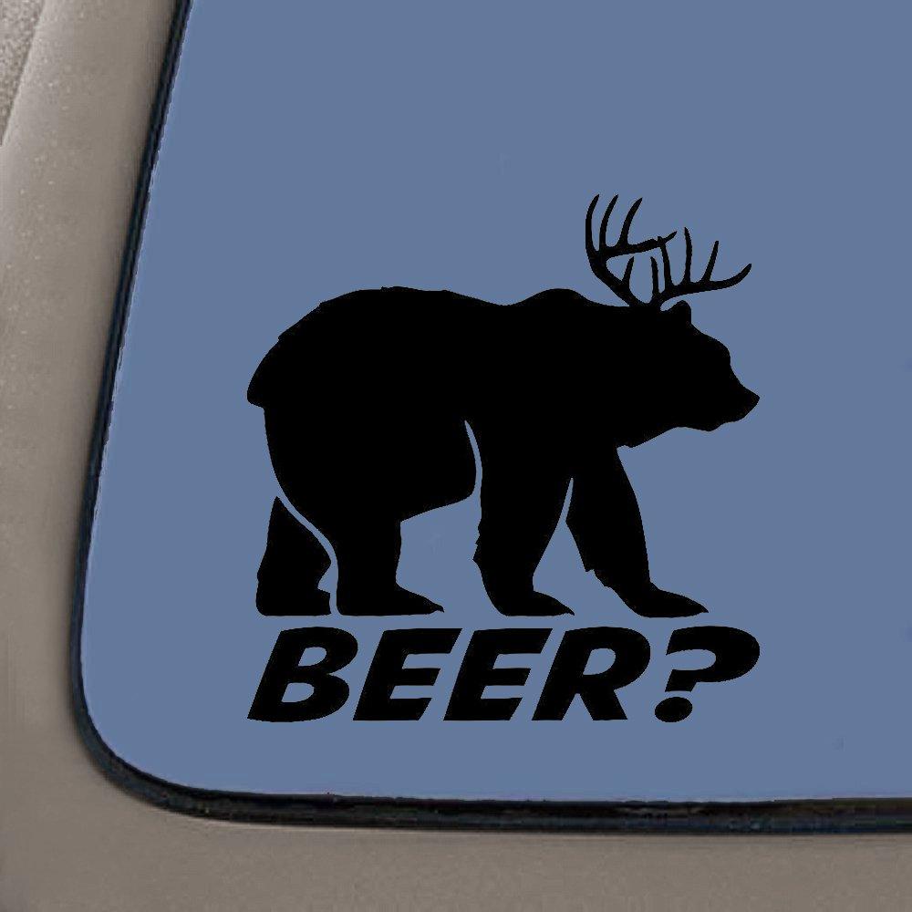 NI313 Bear plus Deer equals BEER Vinyl Die Cut Decal Sticker | Cooler Fridge Cars Trucks Vans Walls Toolbox Laptop | Black