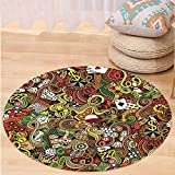VROSELV Custom carpetCasino Decorations Doodles Style Art Bingo Excitement Checkers King Tambourine Vegas Bedroom Living Room Dorm Decor Round 79 inches