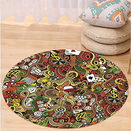 VROSELV Custom carpetCasino Decorations Doodles Style Art Bingo Excitement Checkers King Tambourine Vegas Bedroom Living Room Dorm Decor Round 79 inches by VROSELV