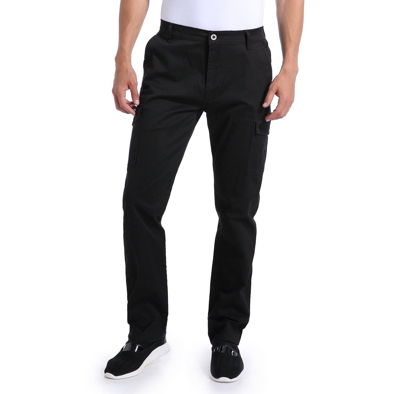 Eaglide Men's Relaxed Fit Elastic Cargo Pant, Mens Pockets Cotton Tactical Pants (Black-02, 34W × 31L)