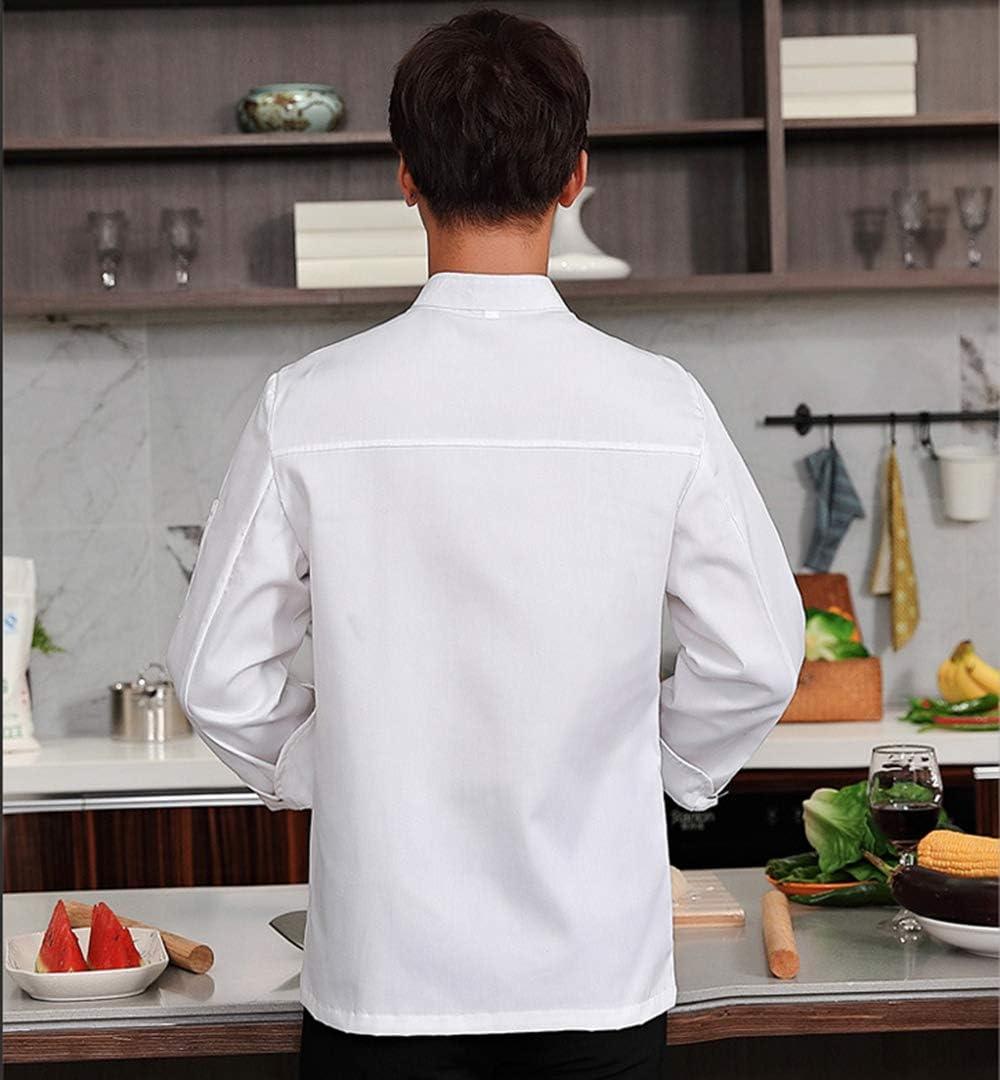 WYCDA Camisa de Cocinero Cocina Uniforme Manga Larga Impermeable Disfraz de Chef Absorción de Humedad Protección del Medio Ambiente Sin Desvanecimiento,Whitelongsleeves,L: Amazon.es: Hogar