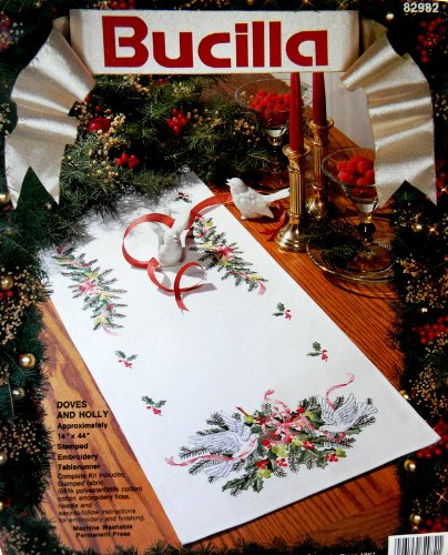 Doves and Holly Stamped Embroidery Table Runner Kit
