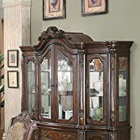 Andrea 103114 72 China Cabinet with 3 Drawers 6 Doors Tempered Glass Acanthus Leaf Embellishments Poplar Wood and Cherry Veneer Materials in Brown and Cherry Finish