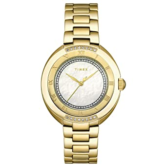 Timex Womens T2M597 Diamond Accented Gold-Tone Stainless Steel Bracelet Watch
