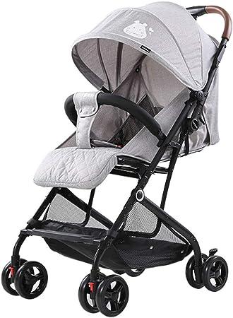 Opinión sobre Cochecito de cuatro ruedas, cochecito plegable con una sola mano, diseño de carro portátil, tela de lino suave y transpirable, cesta de la compra de gran capacidad, ruedas amortiguadoras