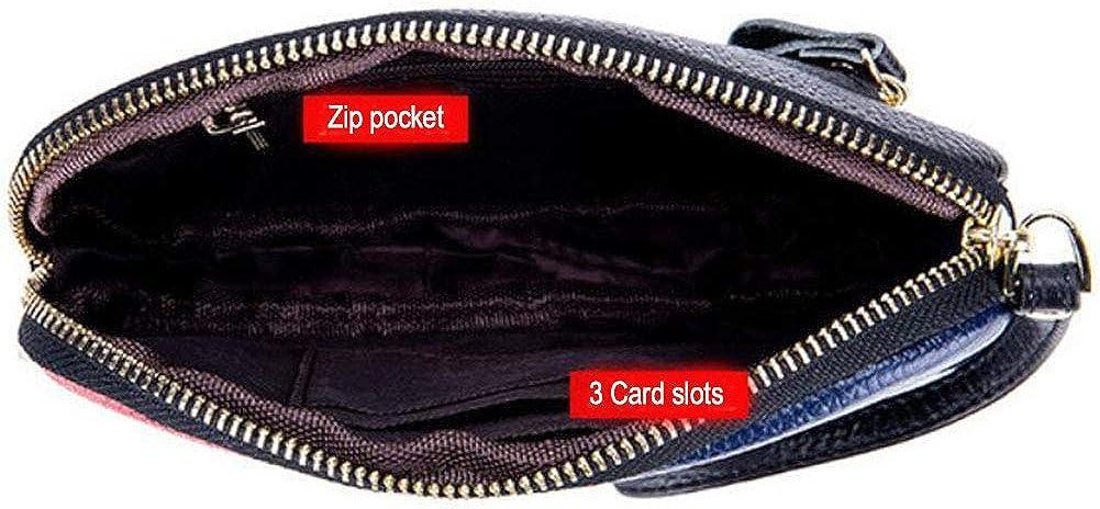 DcSpring Pochette Femme en Cuir V/éritable Portefeuille Longue Fille avec Bracelet Grande Capacit/é Clutche Zip Sac /à Main Petit El/égant Mode