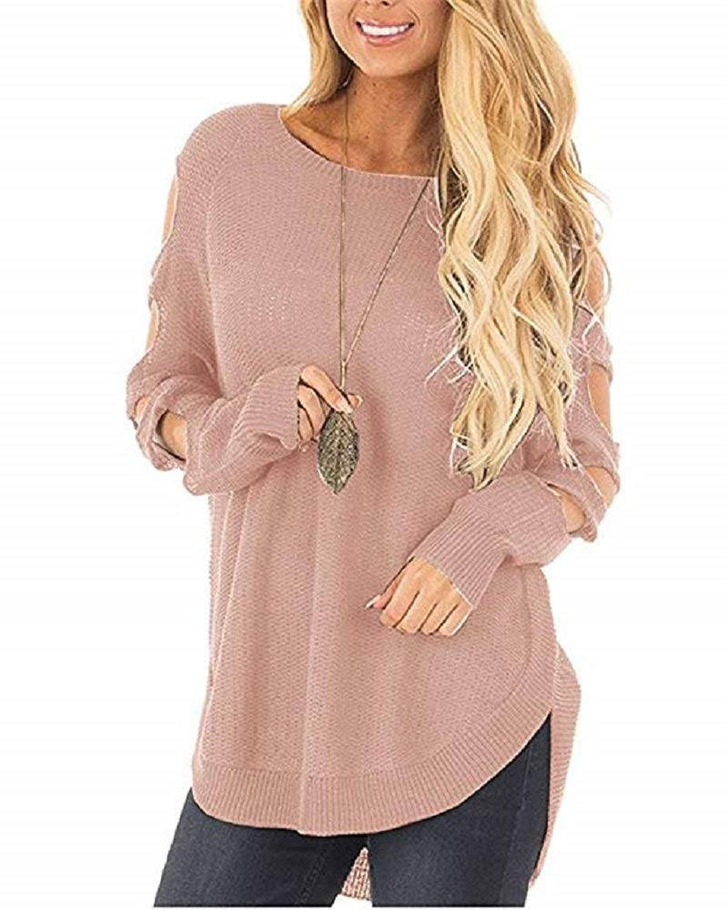 Ferbia Womens Sweaters Cold Shoulder Long Sleeve Cut Out Pullover Sweater Fall Knit Jumper Top