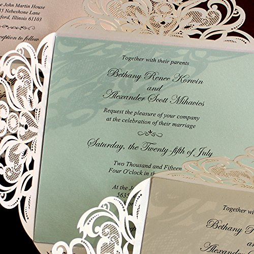 Picky Bride Laser Cut Wedding Invitations Elegant Customized Invitations with your Invite Wording - Set of 50 (Purple Inserts) by Picky Bride (Image #3)
