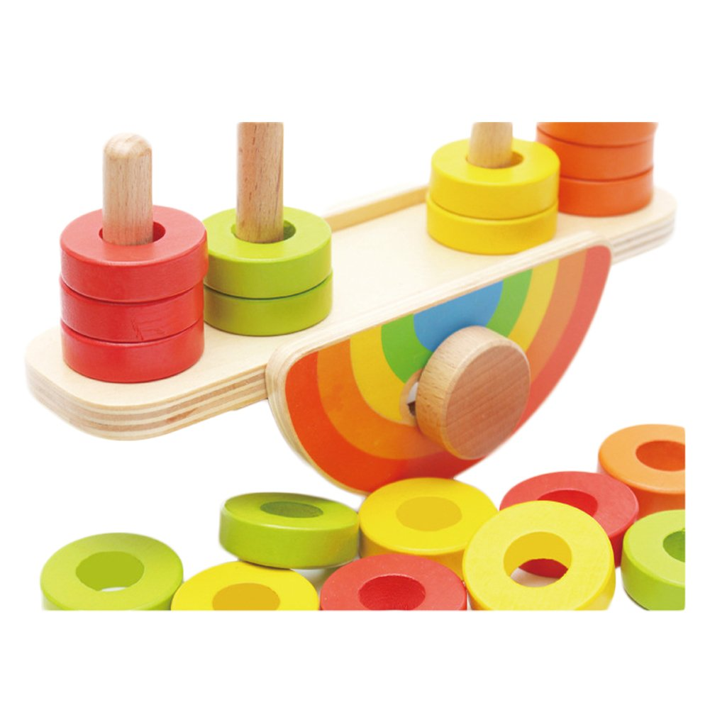 O-Toys Wooden Toys Kids Balance Stacking Blocks Baby Toddler Infant Balancing Games Learning Educational Toy Play Set 20 Pieces