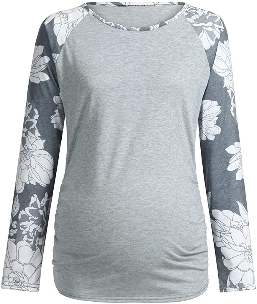 Women Maternity Long Sleeve Floral Printed Nursing Top T-Shirt for Breastfeeding