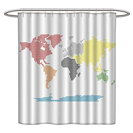 Jiahonghome Waterproof Mold Shower Curtain Digital Dotted World Map Clear Background Mod Gradient Life Non Toxic