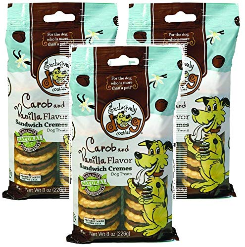 Flavor Sandwich Creme Dog Cookies - Exclusively Pet 3 Pack of Carob and Vanilla Flavor Sandwich Cremes Dog Cookie Treats