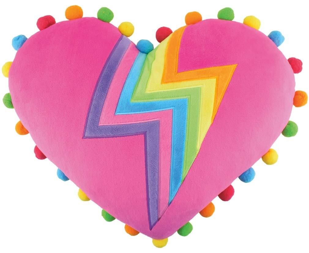 iscream Good Lovin' Rainbow Lightning Heart Shaped 16'' x 13.75'' Pom-Pom Accent Pillow by iscream