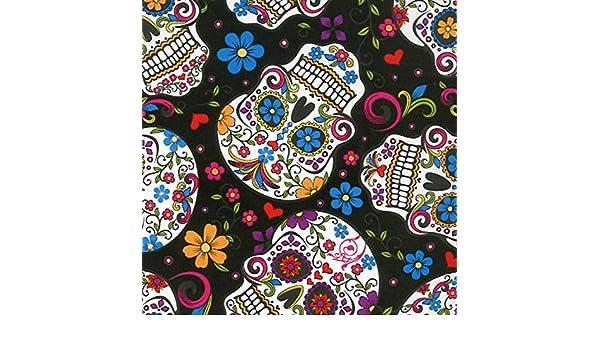 Calavera tejido - DT18 - calaveras mexicano Folklore Negro - por 0,5 metros - 100% algodón: Amazon.es: Hogar