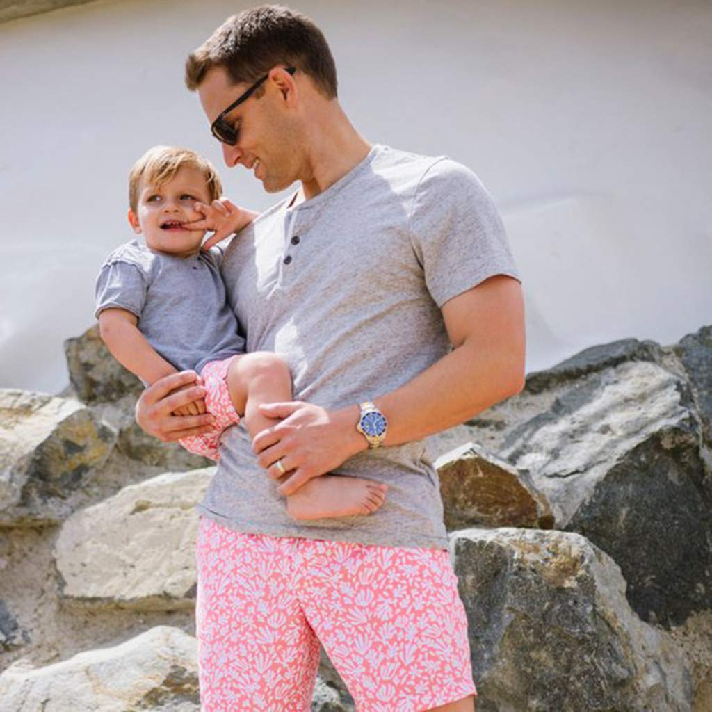 NUWFOR Men Daddy Swimwear Running Surfing Sports Beach Shorts Trunks Board Pants(Pink-Dad,US:L Waist33.1-35.4'') by NUWFOR (Image #3)