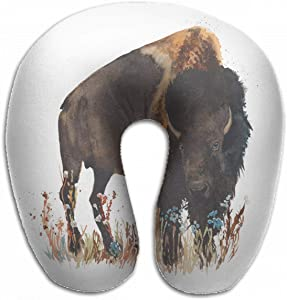 Emvency U-Shaped Travel Neck Support Pillow Bison Buffalo Bull Wild Animal Airplane 12x11.5 Inch Soft U-Pillows with Rebound Material for Kids Adults