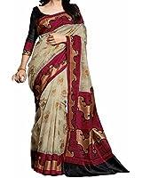 Aarvicouture Women's Cotton Silk Saree (Ac-Sr-7795_Beige_Free Size)