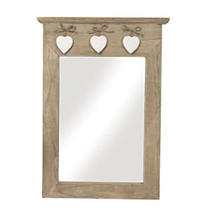RUSTIC NATURAL WOODEN MIRROR WITH HANGING HEARTS by Container Group