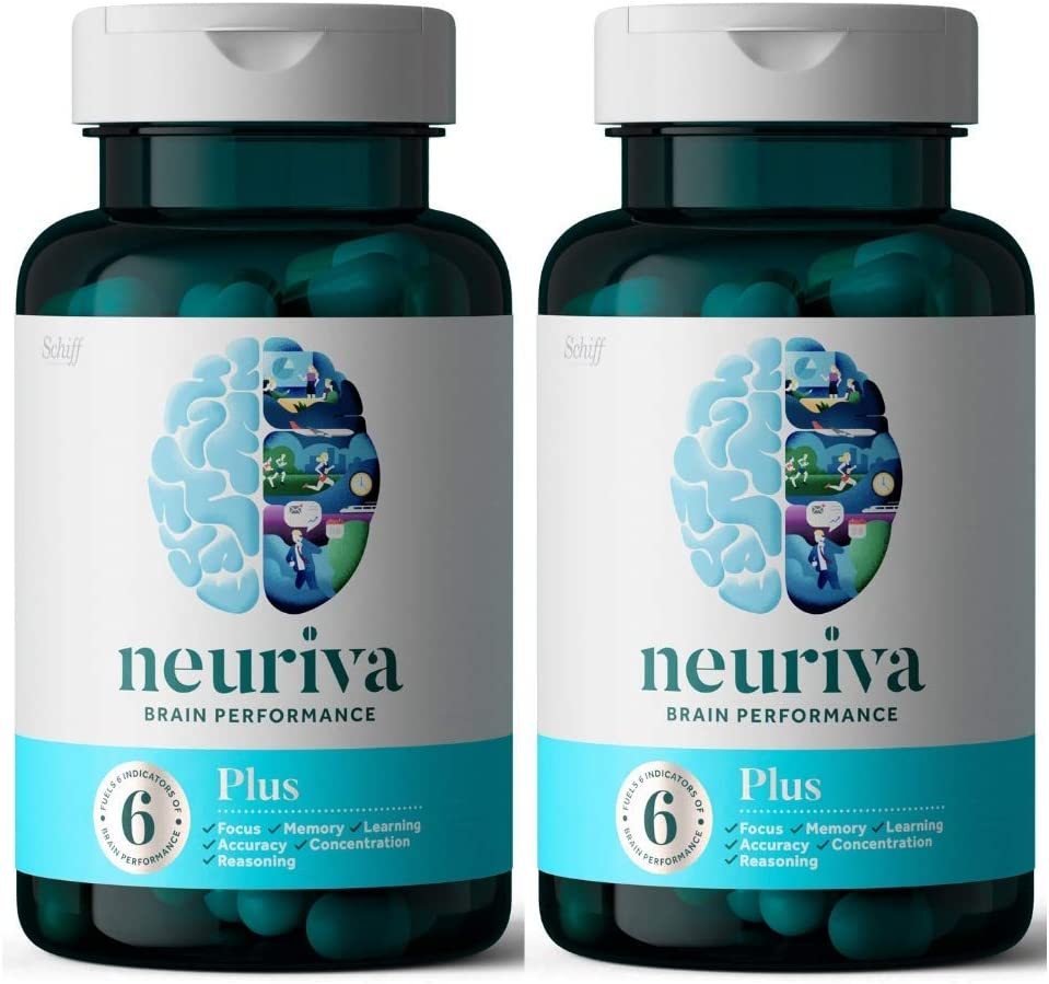 NEURIVA Plus Brain Performance (30 Count), Brain Support Supplement with Clinically Proven Natural Ingredients 1 ea (Pack of 2)