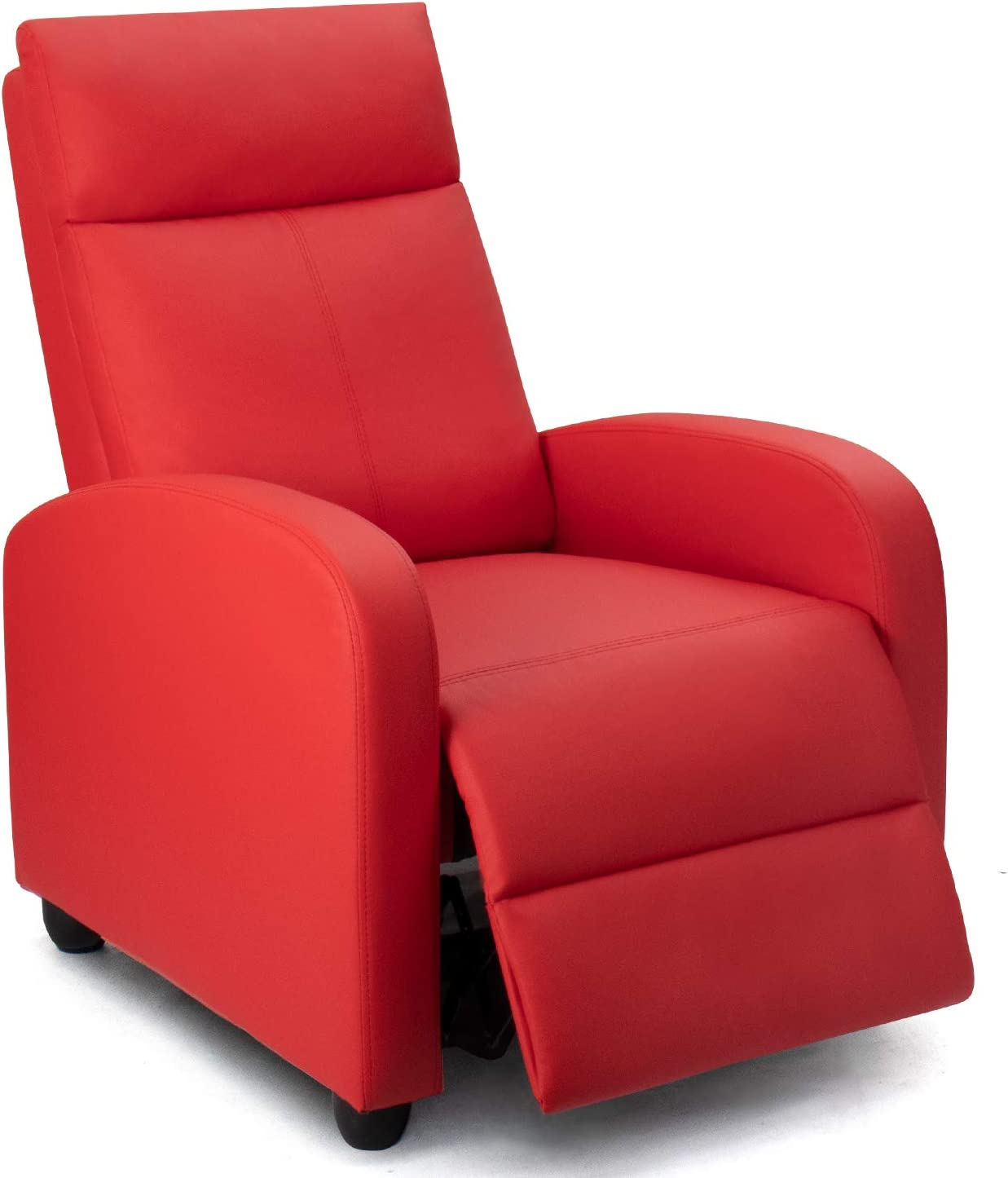 Homall Recliner Chair Padded Seat PU Leather for Living Room Single Sofa Recliner Modern Recliner Seat Club Chair Home Theater Seating (Red)