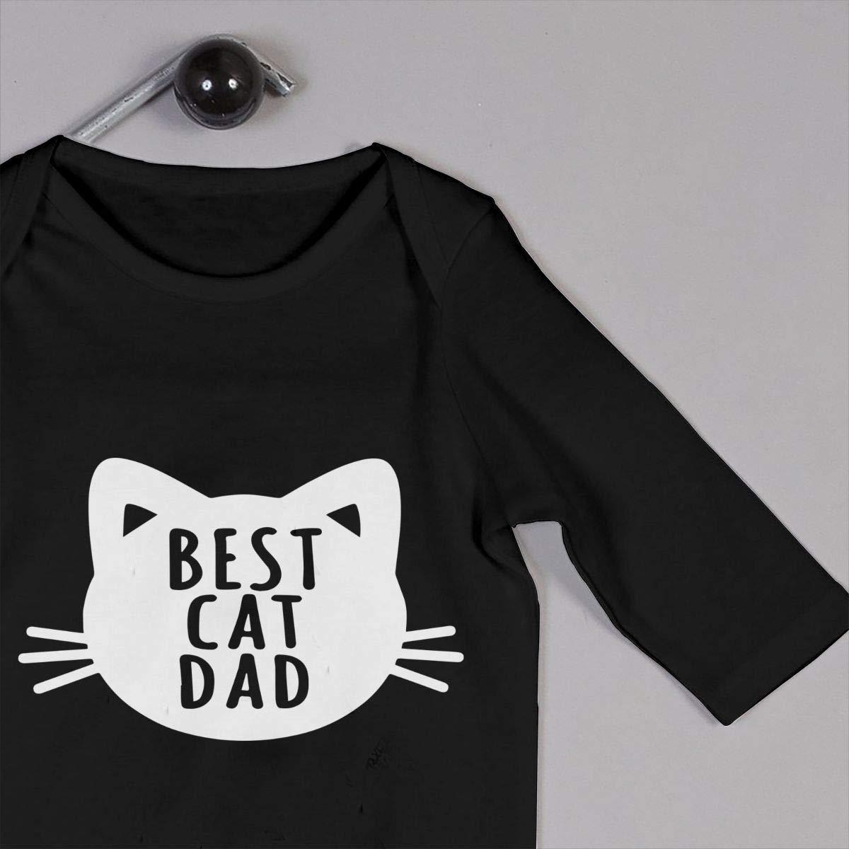 Toddler Round Collar Best Cat Dad Long Sleeve Bodysuits 100/% Cotton Suit 6-24 Months