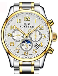 Mens Swiss Technology Automatic Gold Watches with Sapphire Mirror Moon Phase Calendar and 24 Hours White