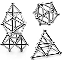 ART IFACT 80 Pieces Sets of 40 Magnetic Sticks & 40 Steel Balls for Innovative Toys Building - Relieve Stress an Develop Intelligence