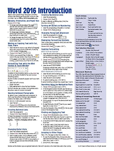 Microsoft Word 2016 Introduction Quick Reference Guide - Windows Version (Cheat Sheet...