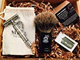 #8: Complete Wet Shave Kit | Mike the Mason | Gift Set Includes: 1 Hawk Razor, 1 Pure Badger Hair Brush, 1 Organic Honey Oatmeal Shave Bar, 5 Premium Mens Blades, and a Razor Stand