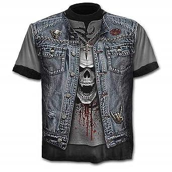 C01 - Camiseta - Camiseta - Camisa - 3D - Manga Corta - Hombre - Mujer - Unisex - Divertido - Idea de Regalo - Accesorios - Cosplay - Disfraz - Calavera - Roca - Metal: Amazon.es: Ropa y accesorios