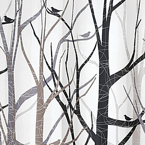 Tenda per Doccia e per Vasca mDesign Tenda Doccia antimuffa Tenda Colore Nero e Grigio Fantasia Bosco 180 x 200 cm Montaggio Facile