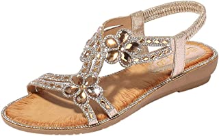 HIRIRI SummerWomenBohemian T Strap Flats LadiesBling Flower Crystal Flat Sandals Beach Casual Shoes