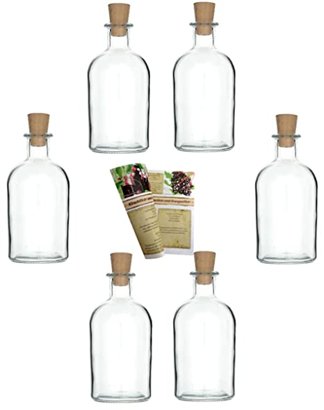 6 Pharmacist 500 Ml Empty Glass Bottles Including Corks With Very