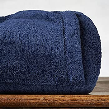 Cozy All Over Foot Pocket Throw with Sleeves, Navy