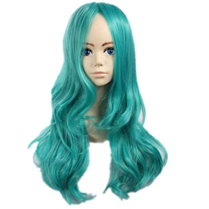 NiceLisa - Peluca para disfraz de Halloween, color azul y verde