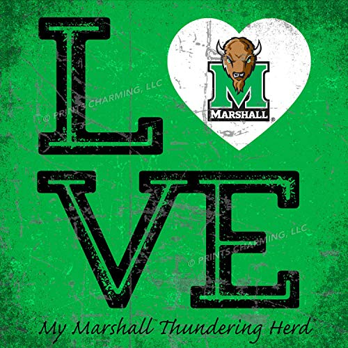 Prints Charming College Love My Team Logo Square Color Marshall Thundering Herd Unframed Poster 13x13 -