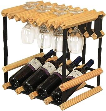 Cocina for guardar Organización independiente estante del vino botella de vino del pino Barril De Madera 4 botellas colgantes copas de vino bastidor soporte de acero del metal del gabinete de madera