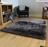 Shag Shaggy Fuzzy Fluffy Furry Modern Contemporary Solid Thick Plush Soft Pile Living Room Bedroom Area Rug Carpet Dark Gray Dark Grey Charcoal Two Tone Color 5×7 Sale Discount ( Glorious Dark Gray ) Review