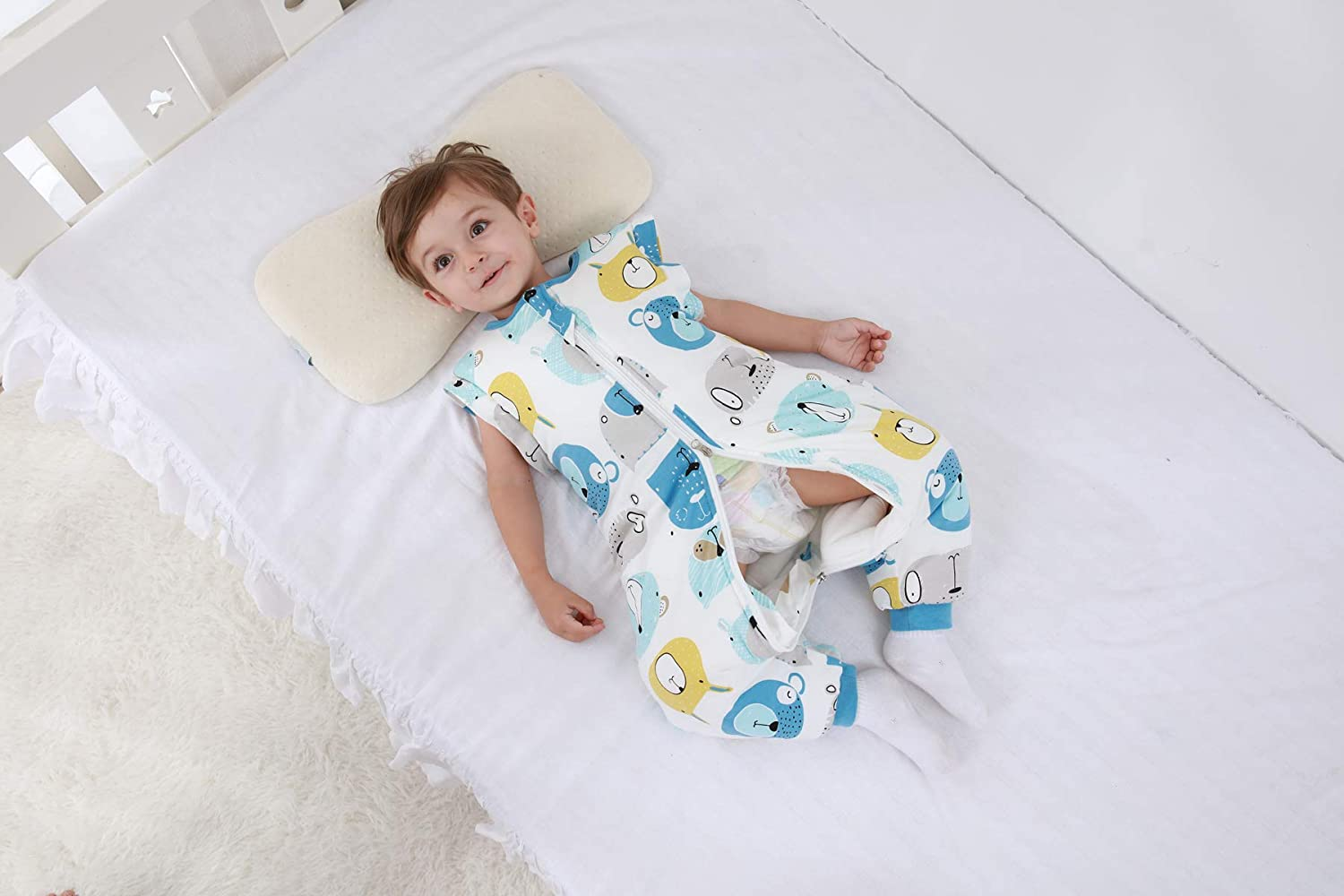 MIKAFEN Baby Sleeping Bag with Legs Warm Lined Winter Long Sleeve Winter Sleeping Bag with Foot 3.5 Tog L//Body Size 31.4-35.4 in, Blue
