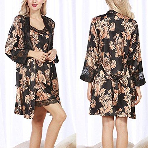 Zhhlaixing Ladies Silk Satin Pajama Set Lace Pyjama Set Luxury Silk Sleepwear Nightgown Dress Woman Bathrobe Pajamas 2102# Black