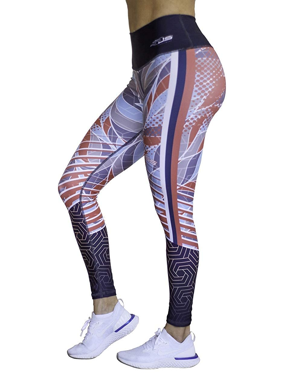 55923dd00d165 Leggings High Waist, Compression, Anti Cellulite, Tummy Control, Workout  Yoga Gym Run Fit Women (Black & Coral 328) at Amazon Women's Clothing store: