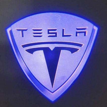 Womdee Tesla Model 3/S/X - Proyector de luz LED para Puerta de Coche, diseño de Logotipo de Tesla, fácil instalación, Luces de Bienvenida frías, ...