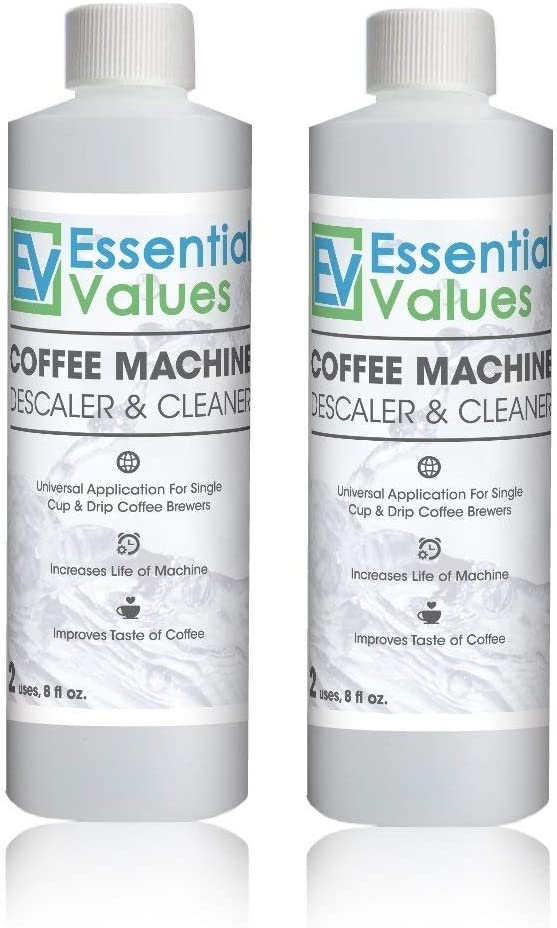 Essential Values Universal Descaling Solution (2 Pack / 4 Uses Total), Designed to Clean Keurig, Nespresso, Delonghi and All Single Use Coffee Pot and ...
