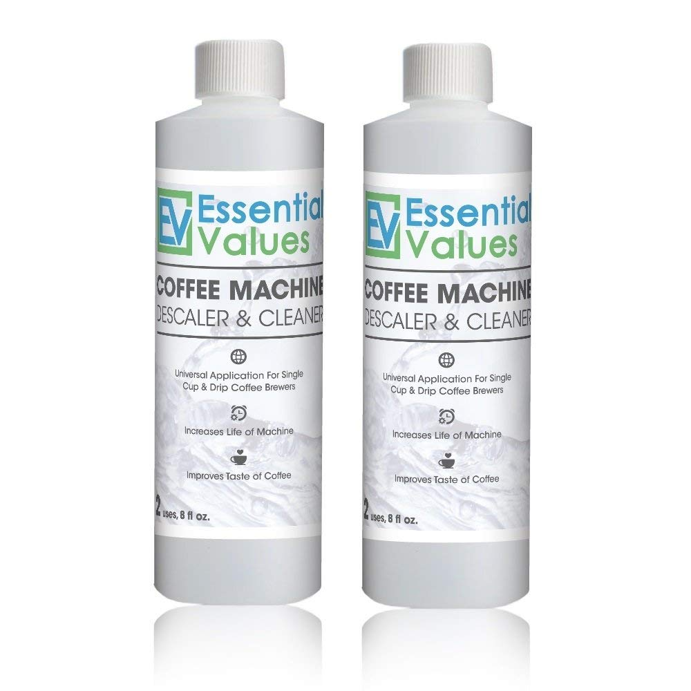 Essential Values Universal Descaling Solution (2 Pack / 4 Uses Total), Designed to Clean Keurig, Nespresso, Delonghi and All Single Use Coffee Pot and Espresso Machines – Proudly Made In USA