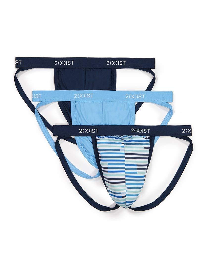 2(X)IST Men's Micro Speed Dri 3pk Jock Strap Underwear, Varsity Navy/Sunset Stripe/Alaskan Blue, Medium by 2(X)IST