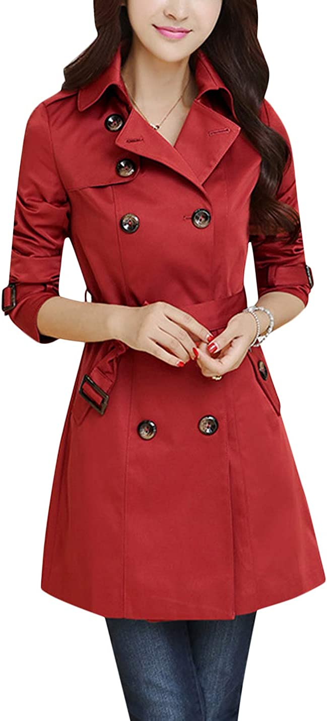 Tanming Women's Autumn Lapel Double Breasted Trench Coat with Removable Belt