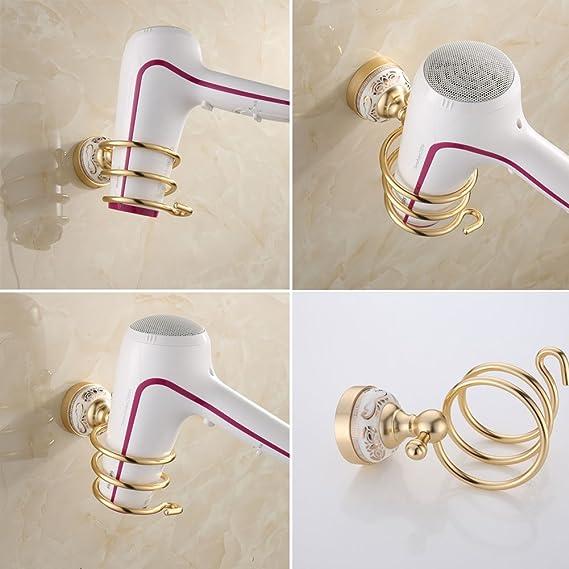 ibnotuiy espacio aluminio antiguo Secador de pelo titular de rack de almacenamiento organizador colgador de pared en espiral soplador estante baño oro: ...