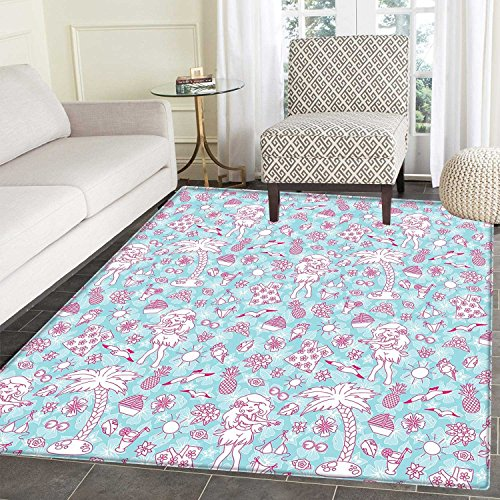 Hawaii Rugs for Bedroom Tropic Doodle with American Girl Wearing Grass Skirt Flower Patterned Shirt Circle Rugs for Living Room 4'x5' Pale Blue Pink by Carl Morris